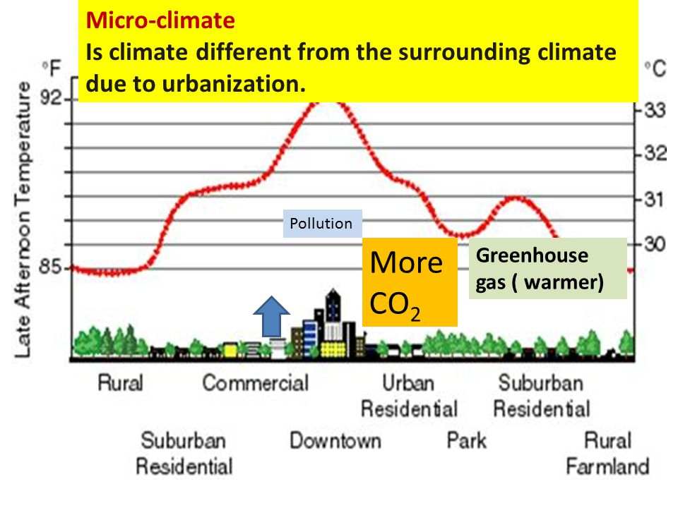 Micro-climate Is climate different from the surrounding climate due to urbanization. Pollution More CO 2 Greenhouse gas ( warmer)