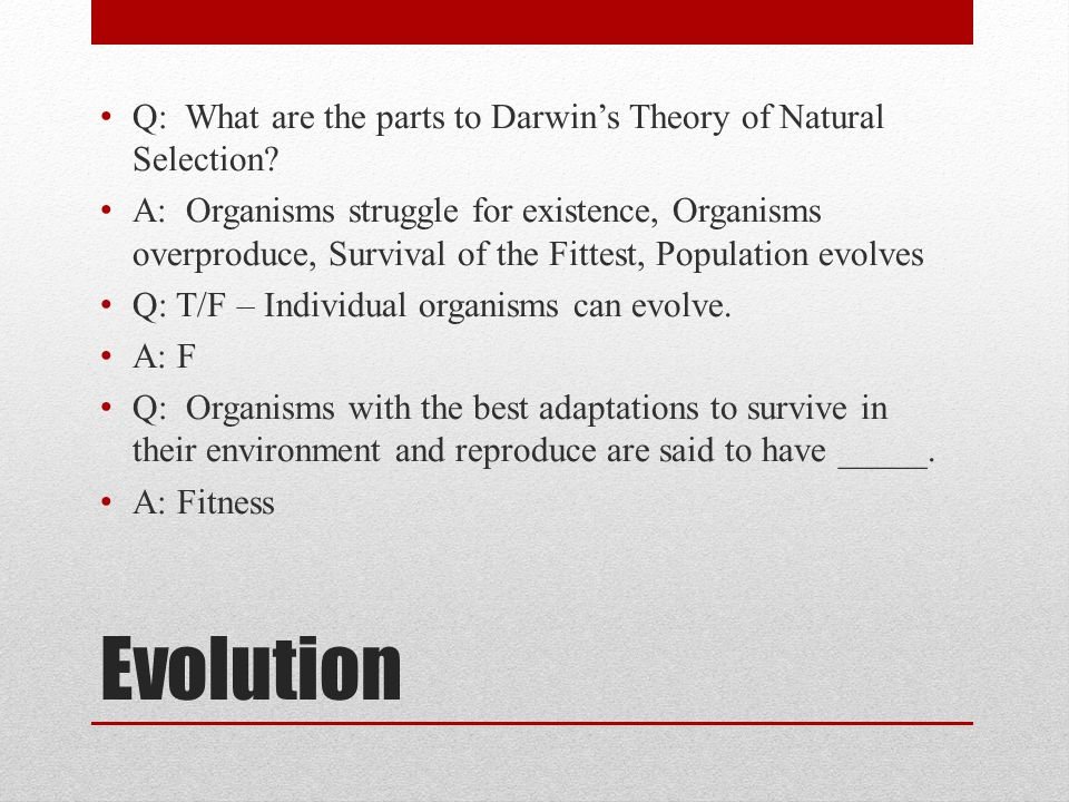 Evolution Q: What are the parts to Darwin's Theory of Natural Selection? A: Organisms struggle for existence, Organisms overproduce, Survival of the F
