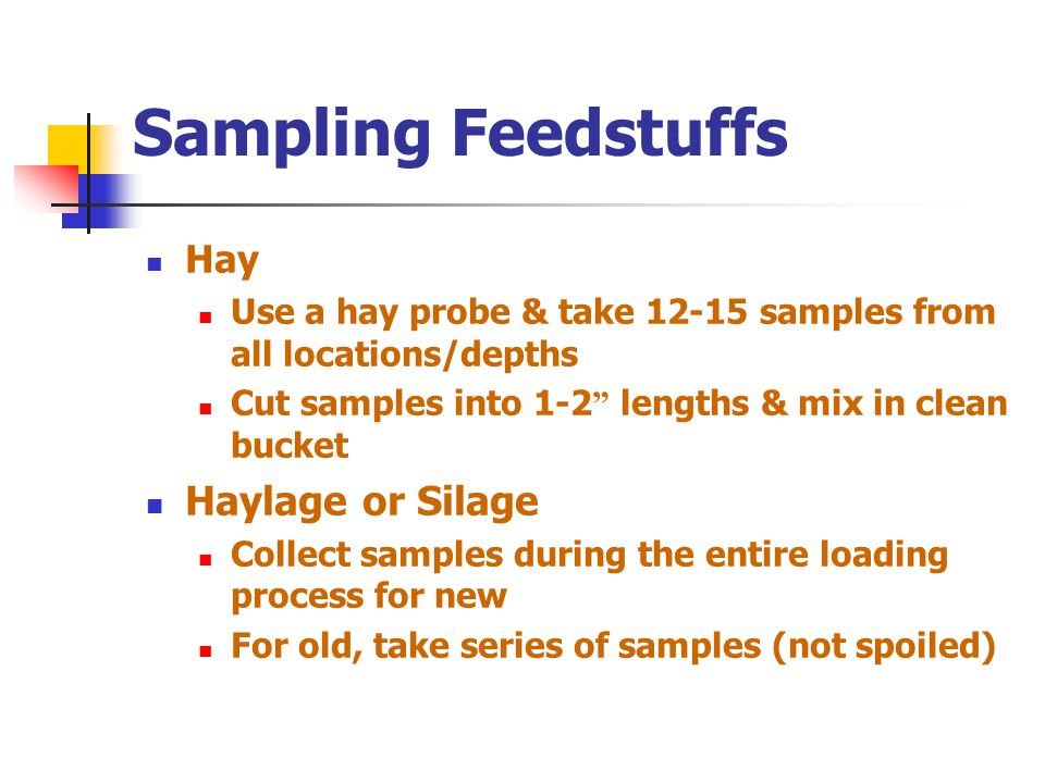 Sampling Feedstuffs Grain: send in at least 1 pt Hay: send in at least ½ lb Silage (Wet Feedstuffs): 2 qts in an airtight container, preferably freeze or refrigerate, or deliver immediately Samples must arrive at lab in same condition they left your farm!