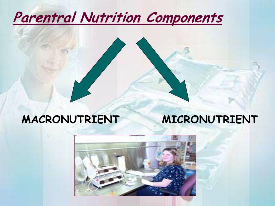 Parentral Nutrition Components MACRONUTRIENT MICRONUTRIENT