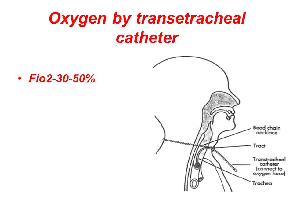 Oxygen by transetracheal catheter Fio2-30-50%