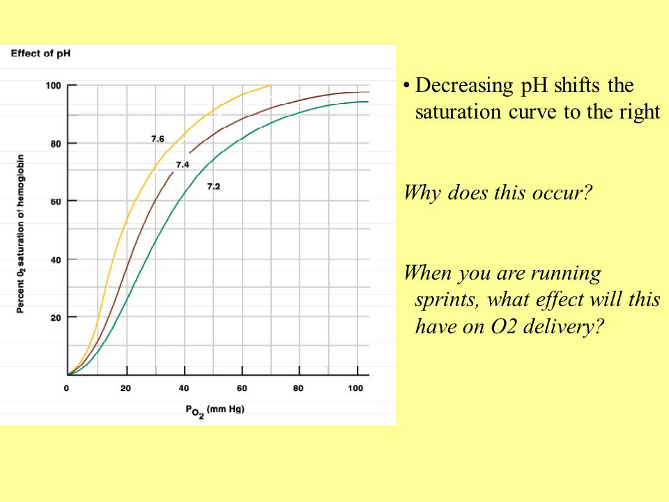 Decreasing pH shifts the saturation curve to the right Why does this occur? When you are running sprints, what effect will this have on O2 delivery?