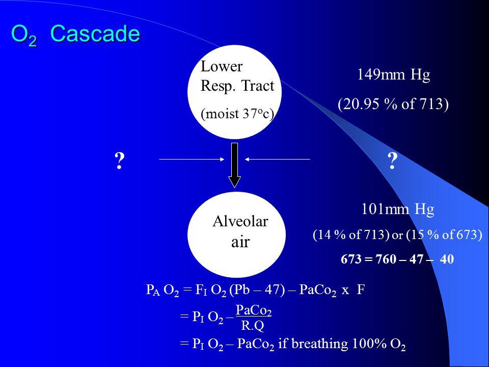 O 2 Cascade 149mm Hg (20.95 % of 713) ? Lower Resp. Tract (moist 37 o c) ? Alveolar air 101mm Hg (14 % of 713) o r (15 % of 673) 673 = 760 – 47 – 40 P