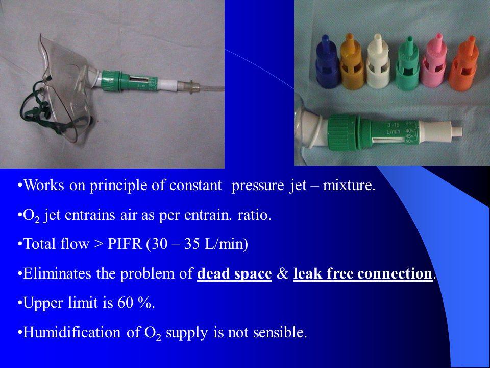 Works on principle of constant pressure jet – mixture. O 2 jet entrains air as per entrain. ratio. Total flow > PIFR (30 – 35 L/min) Eliminates the pr
