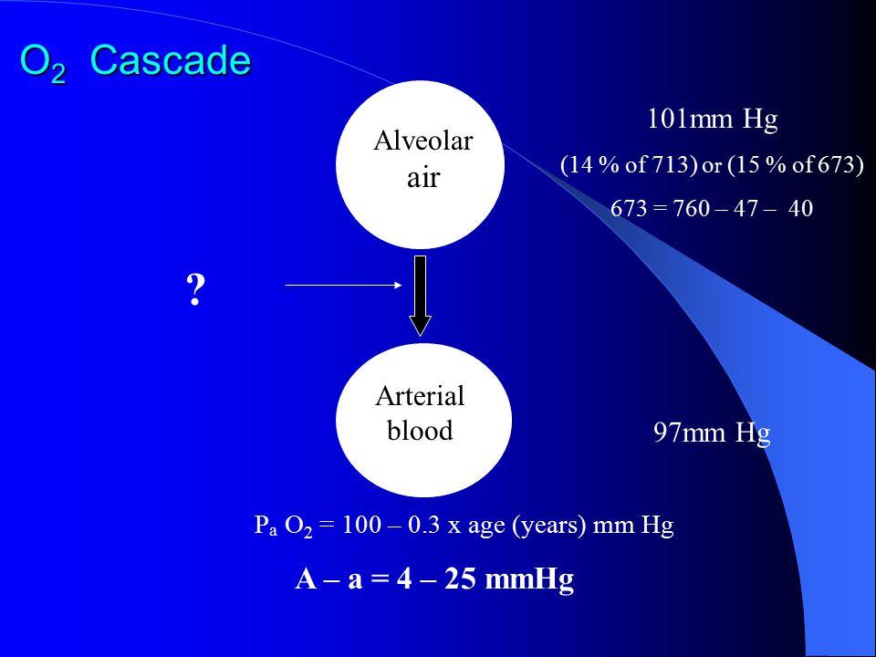 O 2 Cascade ? 101mm Hg (14 % of 713) o r (15 % of 673) 673 = 760 – 47 – 40 Alveolar air Arterial blood 97mm Hg P a O 2 = 100 – 0.3 x age (years) mm Hg