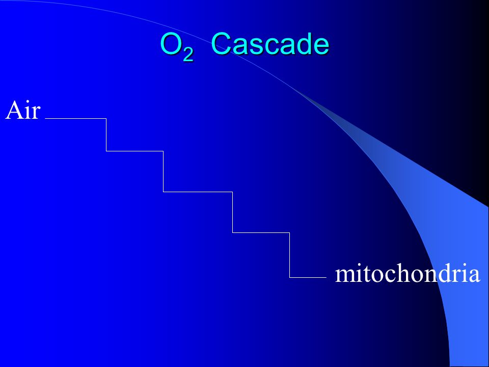 O 2 Cascade Venous admixture P A O 2 = 101mm Hg (14 % of 713) o r (15 % of 673) 673 = 760 – 47 – 40 Alveolar air Arterial blood P a O 2 = 97mm Hg P a O 2 = 100 – 0.3 x age (years) mm Hg A – a = 4 – 25 mmHg P I O 2 P V O 2