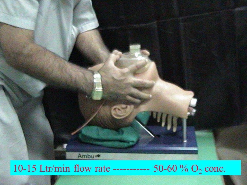 10-15 Ltr/min flow rate ----------- 50-60 % O 2 conc.