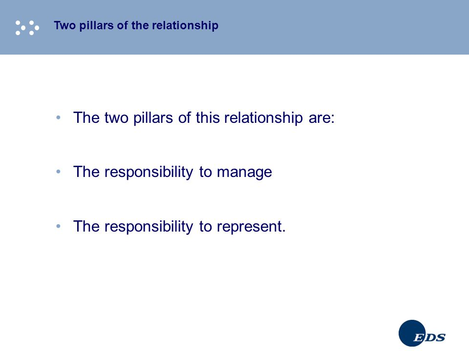 Two pillars of the relationship The two pillars of this relationship are: The responsibility to manage The responsibility to represent.
