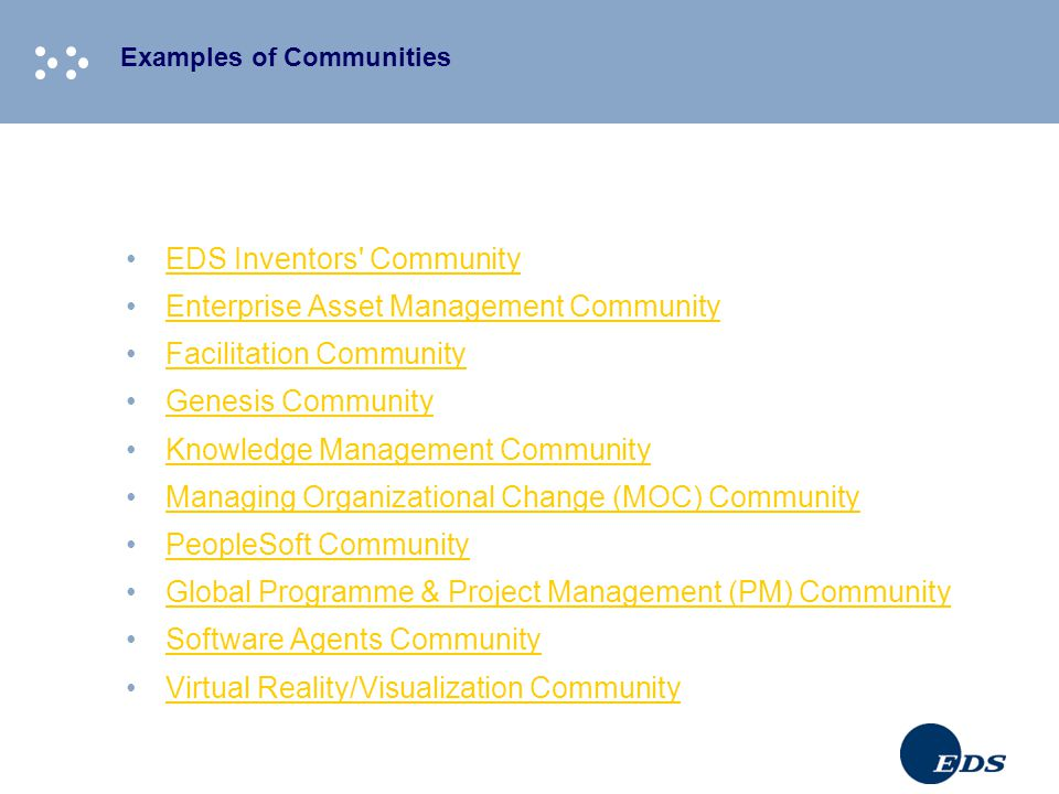 Examples of Communities EDS Inventors' Community Enterprise Asset Management Community Facilitation Community Genesis Community Knowledge Management C
