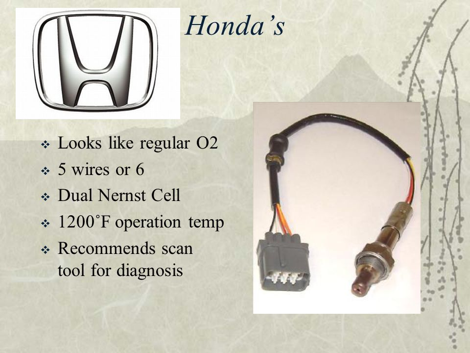 Honda's  Looks like regular O2  5 wires or 6  Dual Nernst Cell  1200˚F operation temp  Recommends scan tool for diagnosis