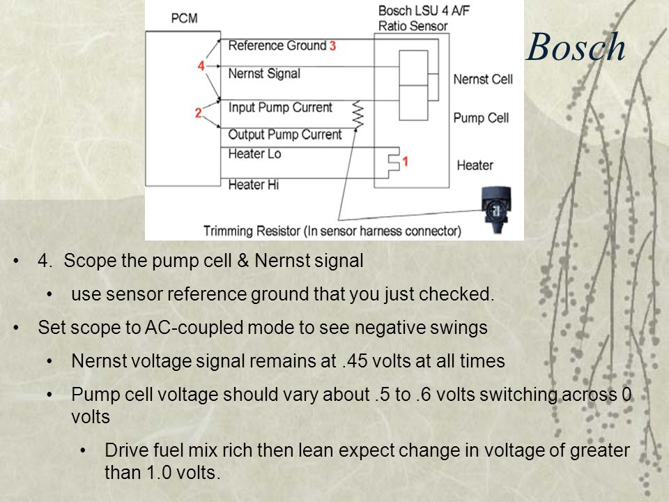 Testing a Bosch 4. Scope the pump cell & Nernst signal use sensor reference ground that you just checked. Set scope to AC-coupled mode to see negative