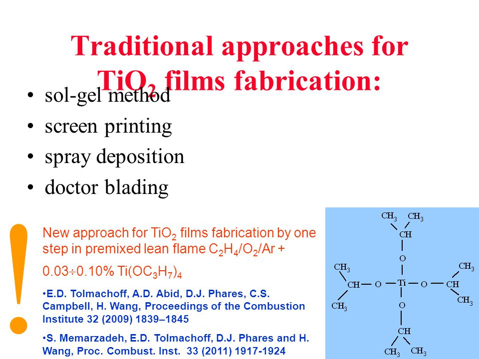 Traditional approaches for TiO 2 films fabrication: sol-gel method screen printing spray deposition doctor blading New approach for TiO 2 films fabrication by one step in premixed lean flame C 2 H 4 /O 2 /Ar + 0.03  0.10% Ti(OC 3 H 7 ) 4 E.D.