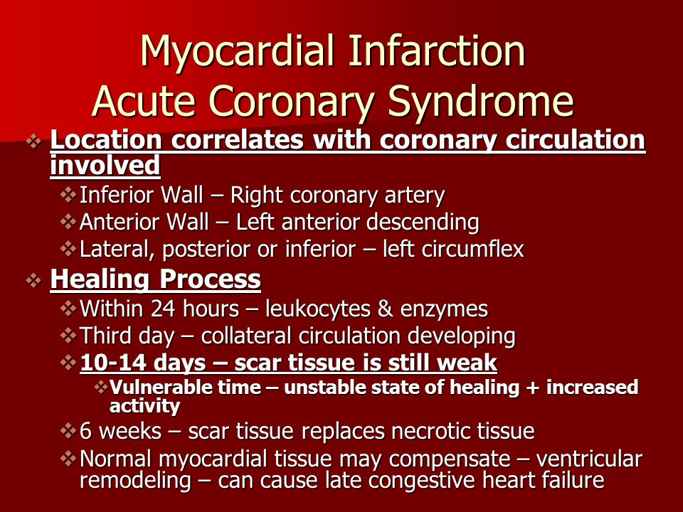 Myocardial Infarction Acute Coronary Syndrome  Location correlates with coronary circulation involved  Inferior Wall – Right coronary artery  Anter
