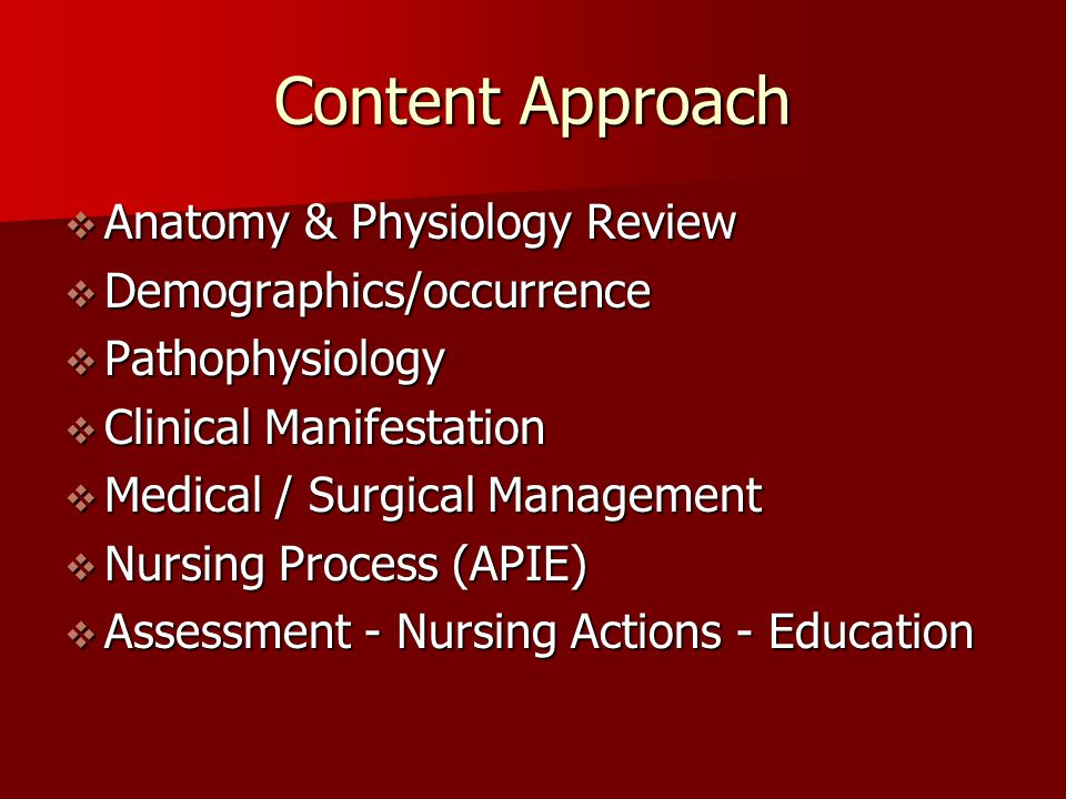 Content Approach  Anatomy & Physiology Review  Demographics/occurrence  Pathophysiology  Clinical Manifestation  Medical / Surgical Management 