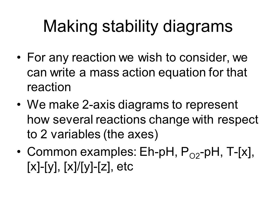 Making stability diagrams For any reaction we wish to consider, we can write a mass action equation for that reaction We make 2-axis diagrams to repre