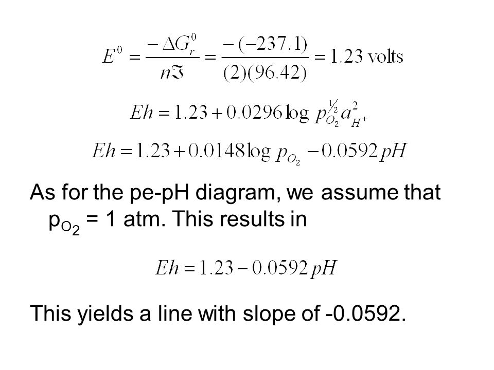 As for the pe-pH diagram, we assume that p O 2 = 1 atm. This results in This yields a line with slope of -0.0592.