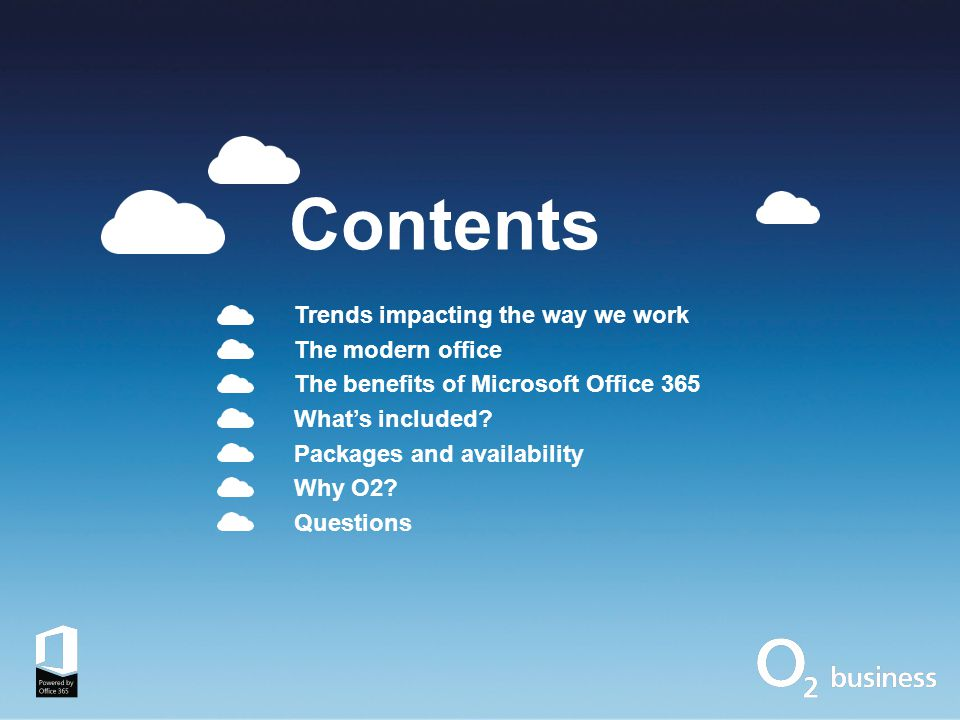 Microsoft's productivity vision Best experience across devices Cloud on your terms Easy to use, business-grade apps & services that work virtually everywhere Instant Messaging Voice & HD Video Content Management Business Social Reporting & Analytics