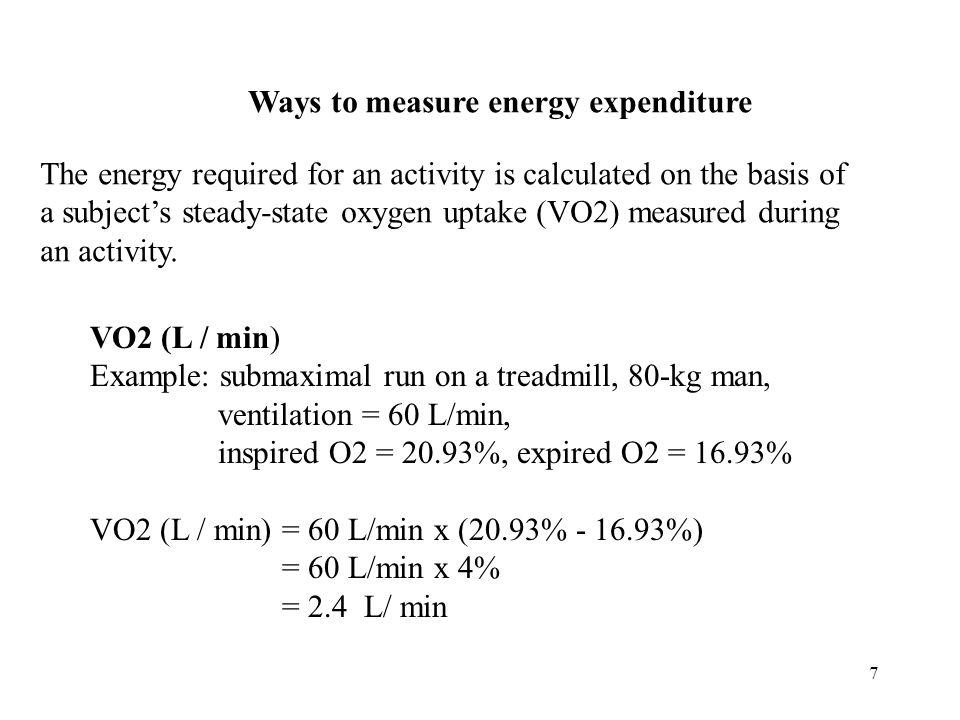 8 VO2 (ml/kg/min) Example: 80-kg man with a VO2 = 2.4 L/min VO2 (ml/kg/min) = 2.4 L/min x 1000 ml/L ÷ 80 kg = 2400 ml/min ÷ 80 kg = 30 ml/kg/min METs (metabolic equivalents) Example: 30 ml/kg/min 1 MET = 3.5 ml/kg/min METs = 30ml/kg/min ÷ 3.5 ml/kg/min = 8.6 METs