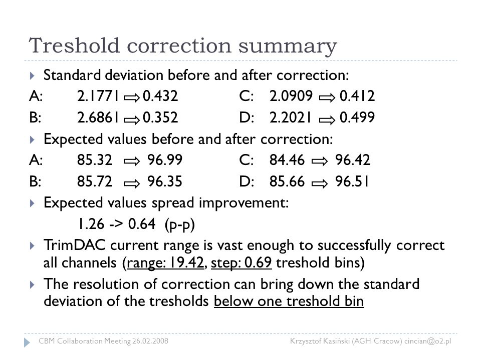 Treshold correction summary  Standard deviation before and after correction: A:2.1771 0.432 C:2.0909 0.412 B:2.6861 0.352 D: 2.2021 0.499  Expected values before and after correction: A: 85.32 96.99 C:84.46 96.42 B:85.72 96.35 D:85.66 96.51  Expected values spread improvement: 1.26 -> 0.64 (p-p)  TrimDAC current range is vast enough to successfully correct all channels (range: 19.42, step: 0.69 treshold bins)  The resolution of correction can bring down the standard deviation of the tresholds below one treshold bin CBM Collaboration Meeting 26.02.2008 Krzysztof Kasiński (AGH Cracow) cincian@o2.pl
