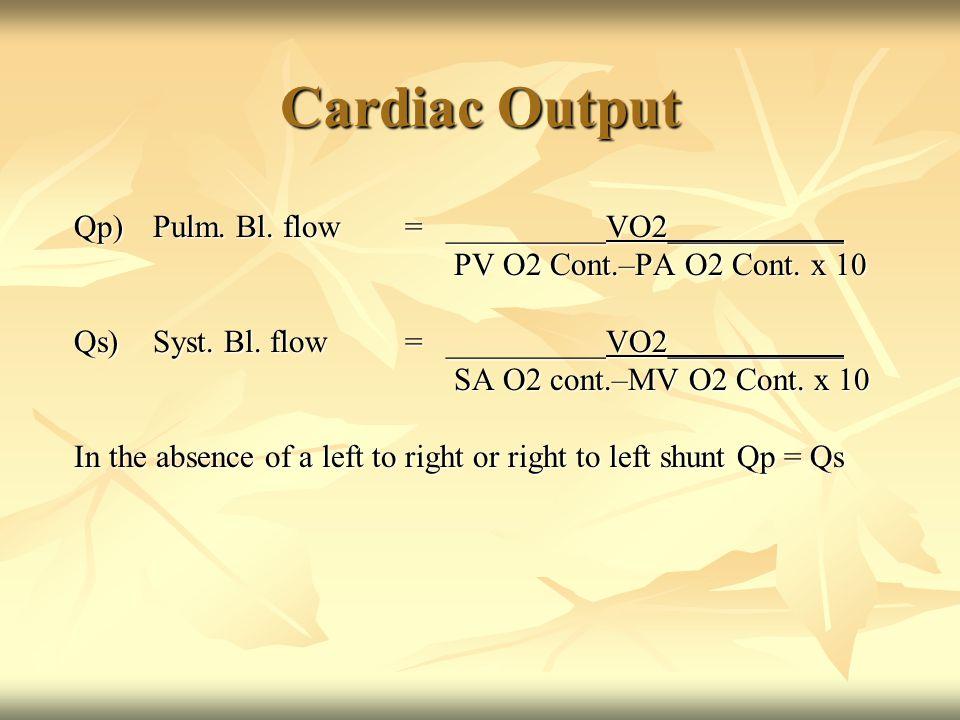 Cardiac Output Qp)Pulm. Bl. flow=__________VO2___________ PV O2 Cont.–PA O2 Cont.