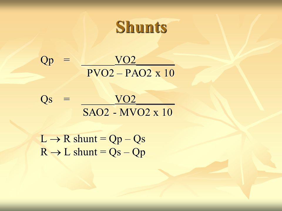 Shunts Qp=______VO2_______ PVO2 – PAO2 x 10 PVO2 – PAO2 x 10 Qs=______VO2_______ SAO2 - MVO2 x 10 SAO2 - MVO2 x 10 L  R shunt = Qp – Qs R  L shunt = Qs – Qp