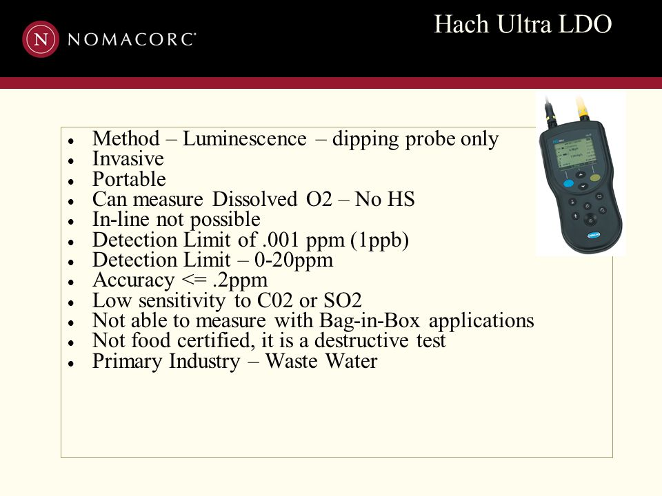 Hach Ultra LDO  Method – Luminescence – dipping probe only  Invasive  Portable  Can measure Dissolved O2 – No HS  In-line not possible  Detectio