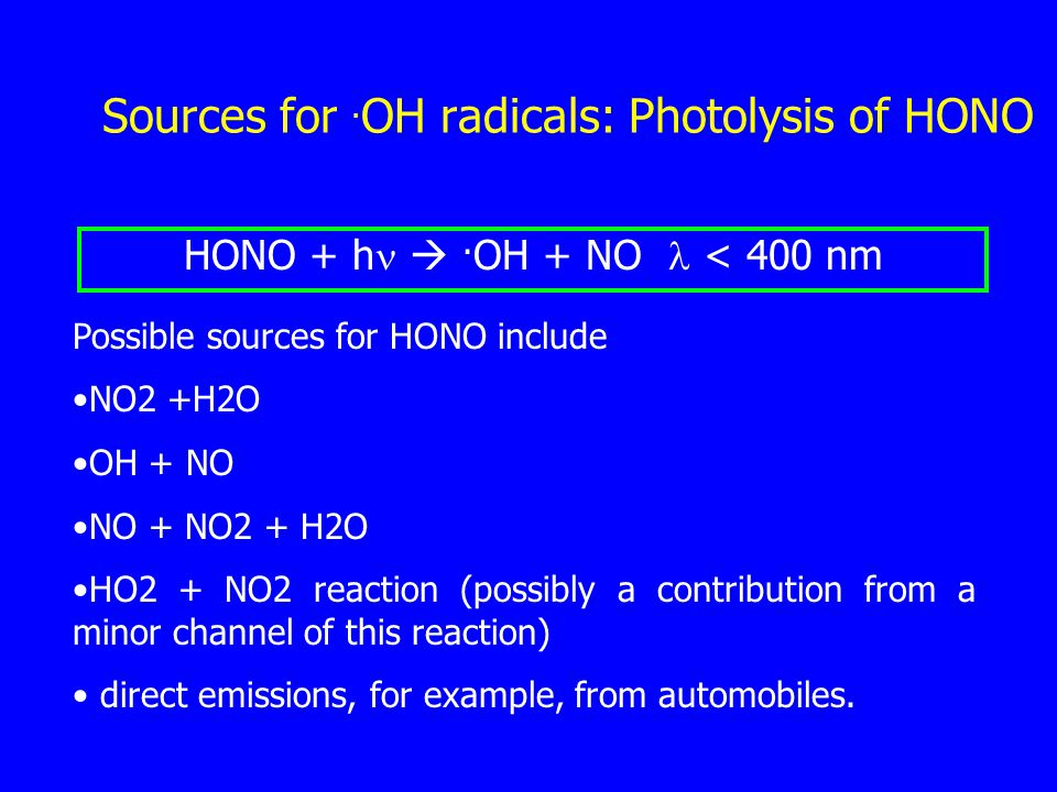 Sources for. OH radicals: Photolysis of HONO HONO + h .