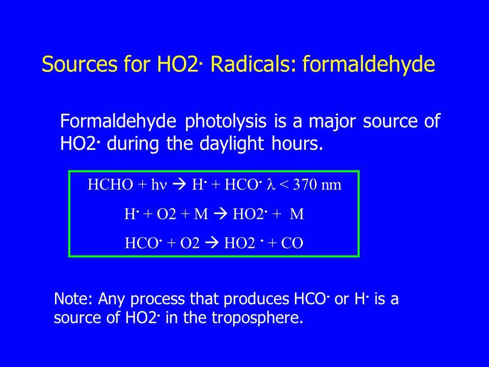 Sources for HO2. Radicals: formaldehyde Formaldehyde photolysis is a major source of HO2.