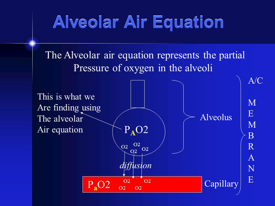 Alveolar Air Equation The Alveolar air equation represents the partial Pressure of oxygen in the alveoli P A O2 P a O2 Alveolus Capillary This is what