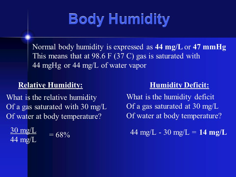 Normal body humidity is expressed as 44 mg/L or 47 mmHg Relative Humidity:Humidity Deficit: What is the relative humidity Of a gas saturated with 30 m