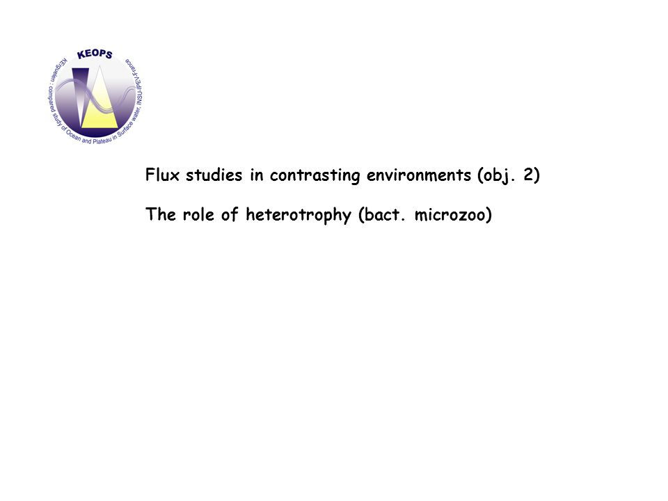 Flux studies in contrasting environments (obj. 2) The role of heterotrophy (bact. microzoo)
