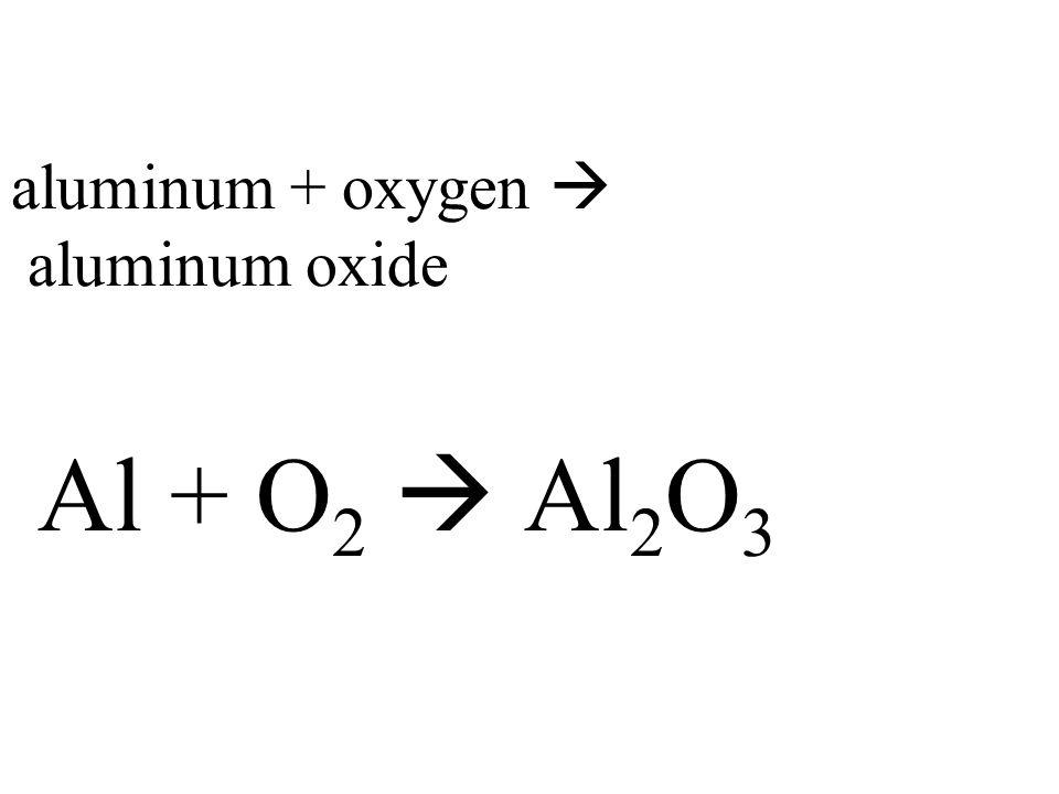 aluminum + oxygen  aluminum oxide Al + O 2  Al 2 O 3