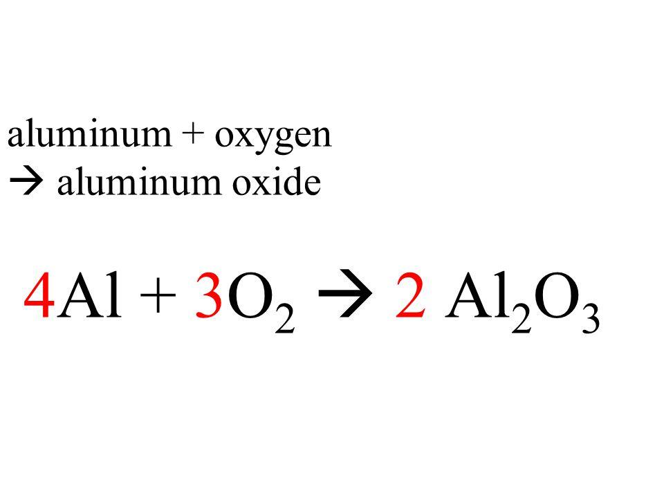 aluminum + oxygen  aluminum oxide 4Al + 3O 2  2 Al 2 O 3
