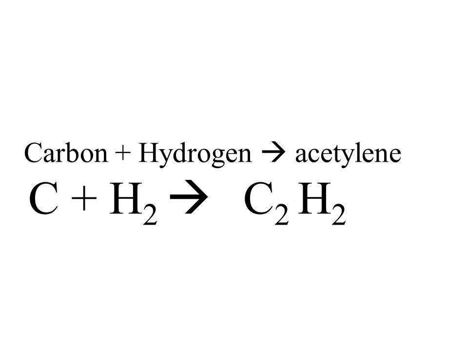 Carbon + Hydrogen  acetylene C + H 2  C 2 H 2