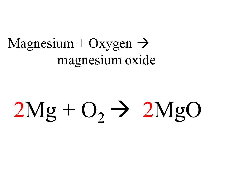 Magnesium + Oxygen  magnesium oxide 2Mg + O 2  2MgO