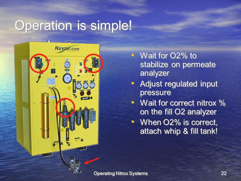 Operating Nitrox Systems22 Operation is simple.