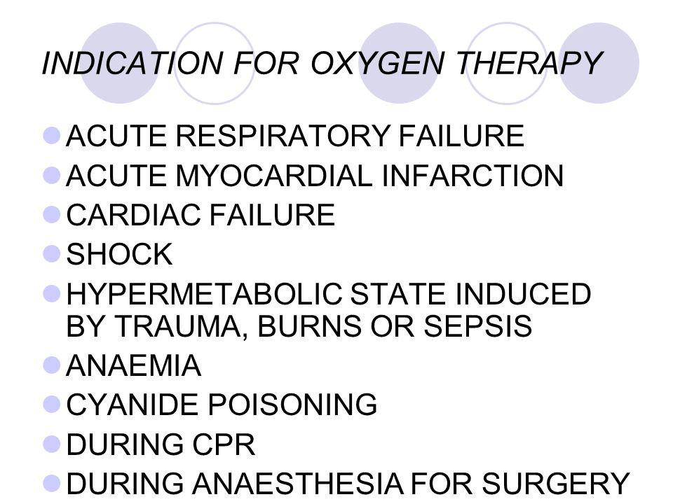 INDICATION FOR OXYGEN THERAPY ACUTE RESPIRATORY FAILURE ACUTE MYOCARDIAL INFARCTION CARDIAC FAILURE SHOCK HYPERMETABOLIC STATE INDUCED BY TRAUMA, BURN