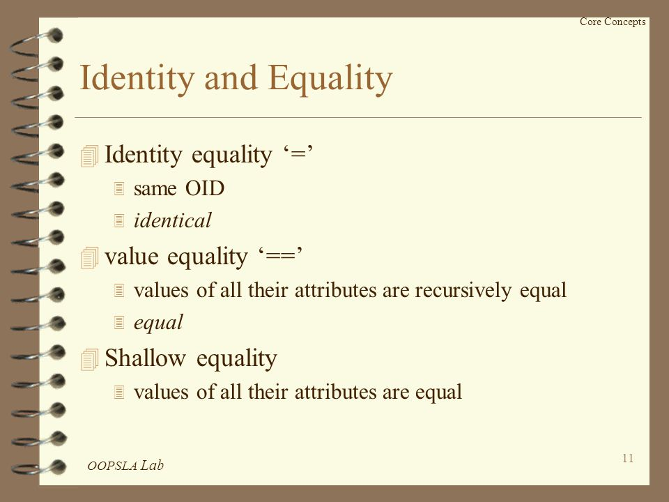 OOPSLA Lab 11 Core Concepts Identity and Equality 4 Identity equality '=' 3 same OID 3 identical 4 value equality '==' 3 values of all their attributes are recursively equal 3 equal 4 Shallow equality 3 values of all their attributes are equal