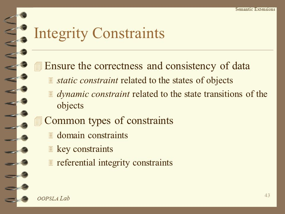 OOPSLA Lab 43 Semantic Extensions Integrity Constraints 4 Ensure the correctness and consistency of data 3 static constraint related to the states of objects 3 dynamic constraint related to the state transitions of the objects 4 Common types of constraints 3 domain constraints 3 key constraints 3 referential integrity constraints