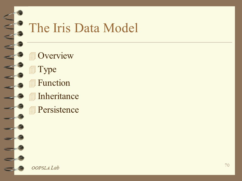 OOPSLA Lab 70 The Iris Data Model 4 Overview 4 Type 4 Function 4 Inheritance 4 Persistence
