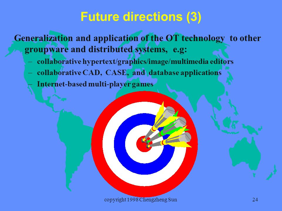 copyright 1998 Chengzheng Sun24 Future directions (3) Generalization and application of the OT technology to other groupware and distributed systems, e.g: – –collaborative hypertext/graphics/image/multimedia editors – –collaborative CAD, CASE, and database applications – –Internet-based multi-player games