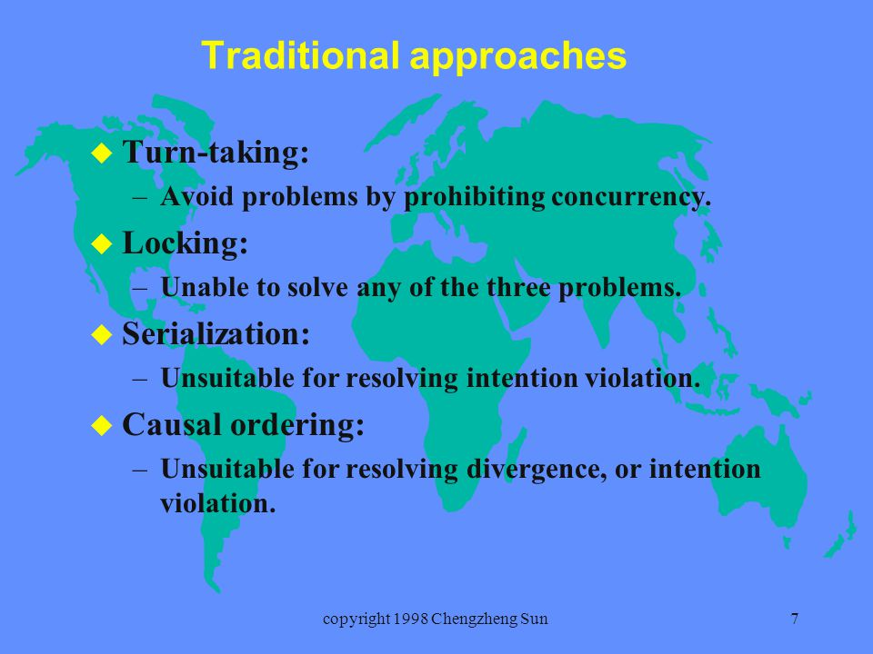 copyright 1998 Chengzheng Sun8 Operational transformation: an innovation Basic idea: an operation is transformed before its execution against previously executed independent operations.