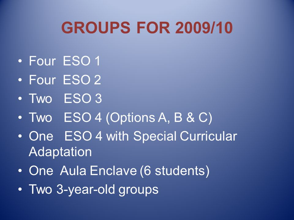 GROUPS FOR 2009/10 Four ESO 1 Four ESO 2 Two ESO 3 Two ESO 4 (Options A, B & C) One ESO 4 with Special Curricular Adaptation One Aula Enclave (6 students) Two 3-year-old groups