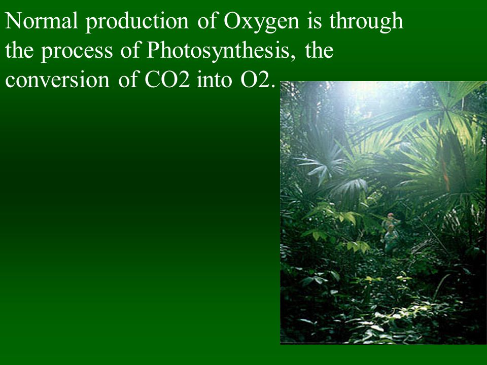 Normal production of Oxygen is through the process of Photosynthesis, the conversion of CO2 into O2.