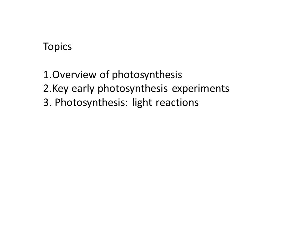 Topics 1.Overview of photosynthesis 2.Key early photosynthesis experiments 3. Photosynthesis: light reactions