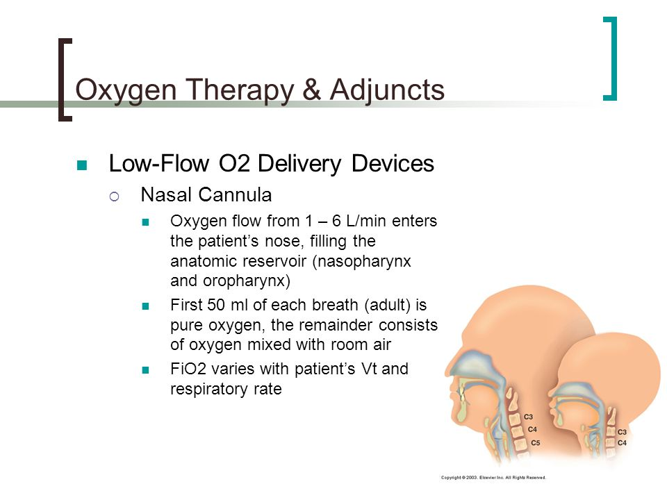 Oxygen Therapy & Adjuncts Low-Flow O2 Delivery Devices  Nasal Cannula Oxygen flow from 1 – 6 L/min enters the patient's nose, filling the anatomic reservoir (nasopharynx and oropharynx) First 50 ml of each breath (adult) is pure oxygen, the remainder consists of oxygen mixed with room air FiO2 varies with patient's Vt and respiratory rate