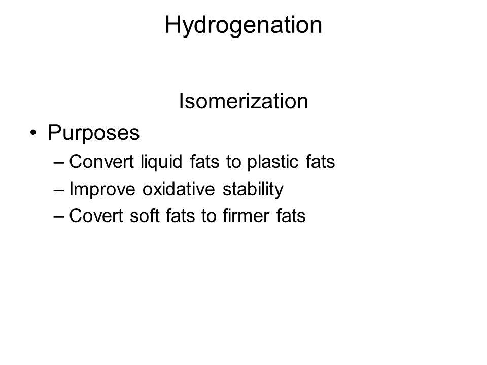 Hydrogenation Isomerization Purposes –Convert liquid fats to plastic fats –Improve oxidative stability –Covert soft fats to firmer fats