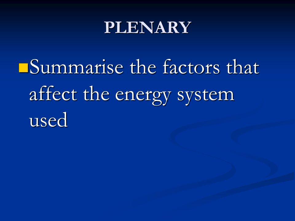 PLENARY Summarise the factors that affect the energy system used Summarise the factors that affect the energy system used