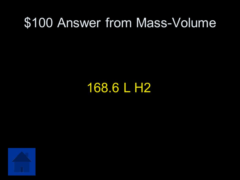 $100 Mass-Volume In the following equation, what volume of hydrogen gas is produced when 135 grams of aluminum are completely reacted with excess sulf