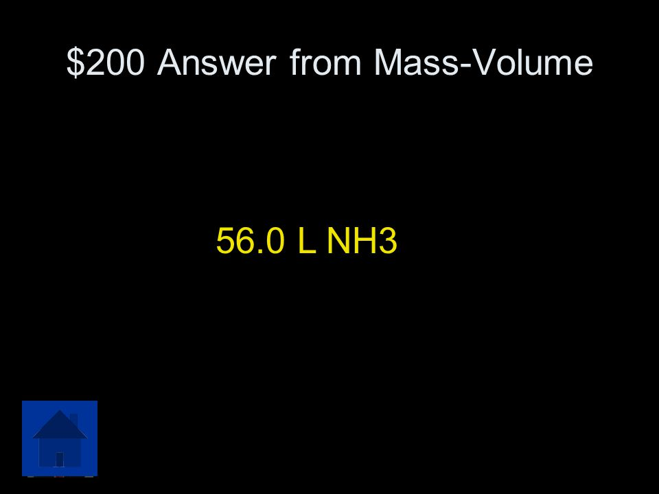 $200 Question from Mass-Volume In the reaction below, how many liters of ammonia gas are produced when 35 grams of liquid nitrogen completely react wi